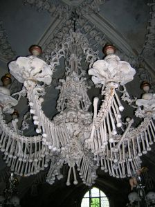 A chandelier made out of human bones