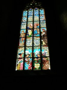The exquisite stained glass windows in the cathedral