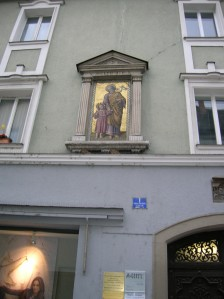 Religious ornamentation on the facade of a building