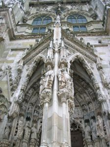 The rich ornamentation on the facade of the cathedral