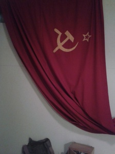 A Communist banner with the hammer and sickle symbol