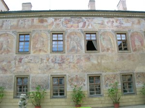 The 16th and 17th century frescoes of six Roman emperors and a battle