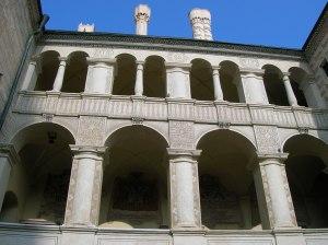 The elegant Renaissance arcades