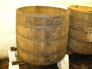 Historic barrels in the brewery cellars