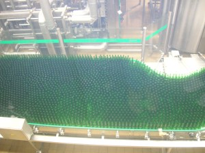A bottle line at the Pilsner Urquell Brewery