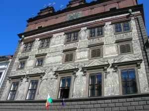 The town hall with its sgraffito Renaissance facade