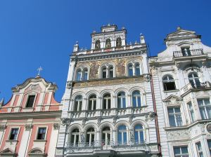 The exquisite facade of a building on Republic Square