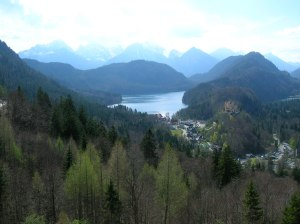 The spectacular view of the countryside from Neuschwanstein Castle