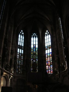 The stained glass windows of the Church of Our Lady