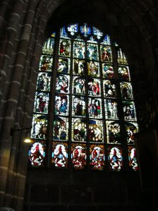 An exquisite stained glass window in St. Lawrence's Church