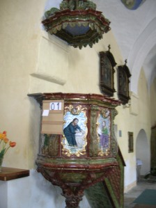 The pulpit in St. Giles' Church in Heřmaň