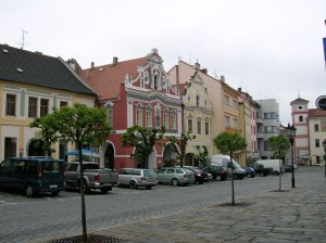 Buildings on a square in Písek