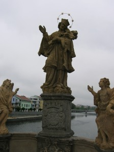 A statue on the Stone Bridge in Písek
