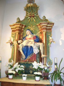 The interior of the Church of the Birth of the Virgin Mary