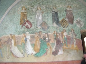 The 15th century wall painting in the Dance Hall