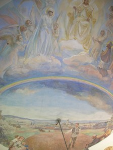 The 1946 ceiling painting in Křesetice
