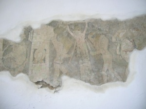 A fragment of a wall painting in Markovice