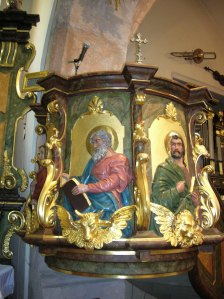 The pulpit in the Church of the Elevation of the Cross