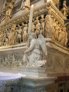 The angel carved by Michelangelo on St. Dominic's sarcophagus