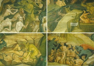 Postcard of Chapel of the Magi, The Inferno, frescoes by Giovanni da Modena, 1410