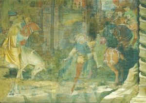 Postcard of the Chapel of the Magi, Journeys of the Magi, fresco by Giovanni da Modena, 1410