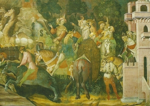 Postcard of Chapel of the Magi, showing the Journeys of the Magi, fresco by Giovanni de Modena, 1410