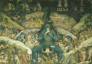 Postcard of the Chapel of the Magi with Lucifer as the central figure in Hell