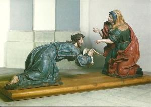 Postcard of a statue in the Church of Saint Nicholas