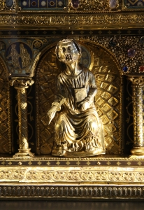A closeup of the reliquary of Saint Maurus