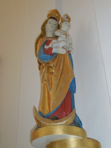 A Gothic statue in the modern church at Jedovnice