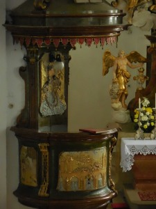 Pulpit at the Church of the Virgin Mary, Obyčtov