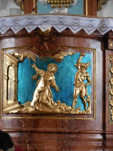 Detail of the pulpit in Zvole
