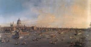 City of London from River Thames with St. Paul's Cathedral on Lord Mayor's Day by Canaletto