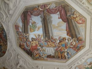 An allegorical fresco in the Dining Room